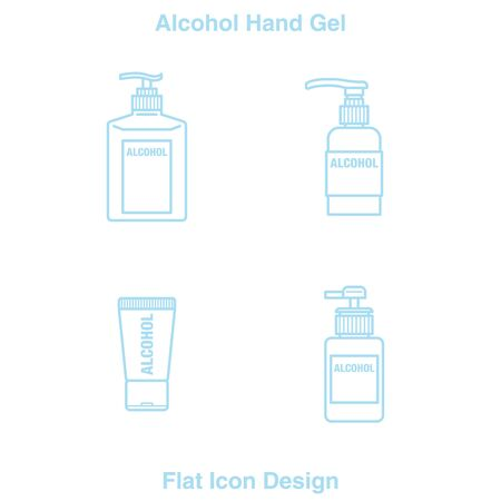 Hand Sanitizer Dispenser, infection control concept. Sanitizer to prevent colds, virus, Coronavirus, flu. Clean Blue background. Antimicrobial germ kill spray bottle Flat Icon Design blue Line 矢量图像