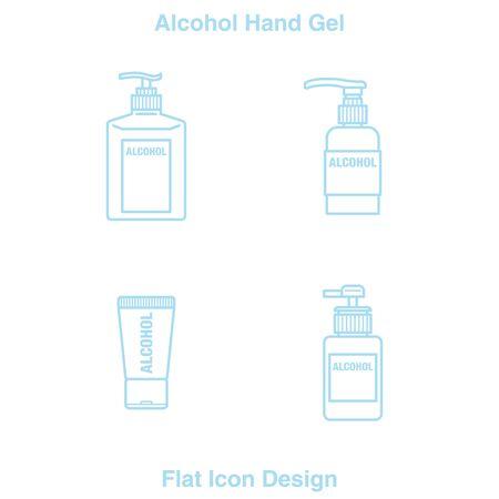 Hand Sanitizer Dispenser, infection control concept. Sanitizer to prevent colds, virus, Coronavirus, flu. Clean Blue background. Antimicrobial germ kill spray bottle Flat Icon Design blue Line Illustration