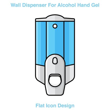Hand wash. Hand sanitizer. Alcohol-based hand rub. Rubbing alcohol. Wall mounted soap dispenser. Wall hanging hand wash container. Protection from germs such as coronavirus (Covid-19) icon design