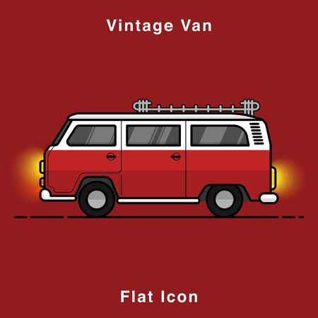 Old style two colors minivan. Front view of red retro hippie bus. Line style vector illustration. Vehicle and transport banner. Retro style old car from 60s or 70s. Vintage Classic Van flat icon illustrate.