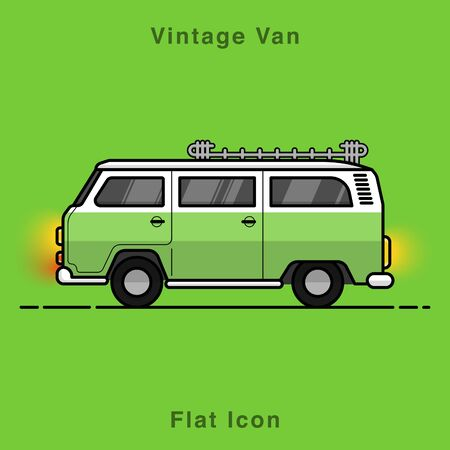Old style two colors minivan. Front view of red retro hippie bus. Line style vector illustration. Vehicle and transport banner. Retro style old car from 60s or 70s. Vintage Classic Van flat icon illustrate. Ilustracje wektorowe