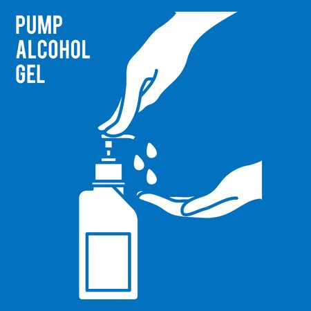 Pump alcohol gel Hand sanitizer Alcohol-based hand rub. Rubbing alcohol. Wall mounted soap dispenser. Wall hanging hand wash container. Protection from germs such as coronavirus (Covid-19) icon design