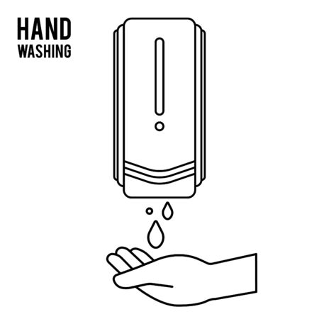 Pump Hand wash. Hand sanitizer. Alcohol-based hand rub. Rubbing alcohol. Wall mounted soap dispenser. Wall hanging hand wash container. Protection from germs such as coronavirus (Covid-19) icon design