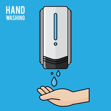 Pump Hand wash. Hand sanitizer. Alcohol-based hand rub. Rubbing alcohol. Wall mounted soap dispenser. Wall hanging hand wash container. Protection from germs such as coronavirus (Covid-19) icon design 矢量图像