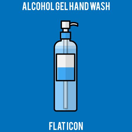 alcohol gel, alcohol hand gel, hand wash, Hygienic Gel for Hands Properly. Cleaning Hands with Antiseptic Product. Prevention against Virus, Germs and Infection. Flat icon design, outline design.