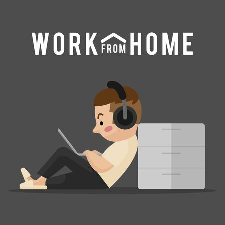 work at home. work from home. sitting working. office at home. flat design. illustration vector.