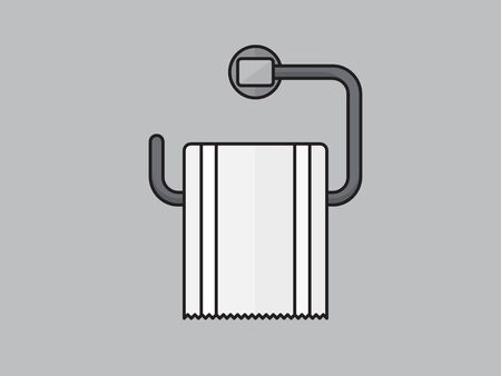 Toilet paper roll with metal holder. illustration in flat style on grey background