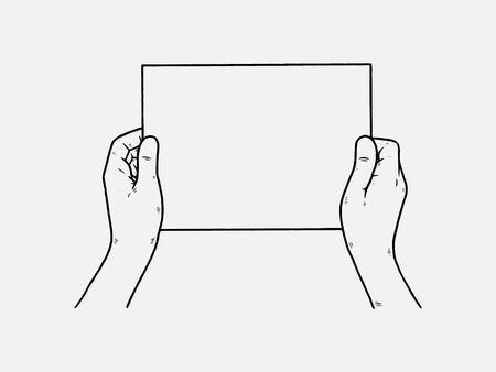 Two hands is holding a blank sheet of paper icon. Vector illustration of a mans hands holding blank paper. Hand drawn blank paper in hands.