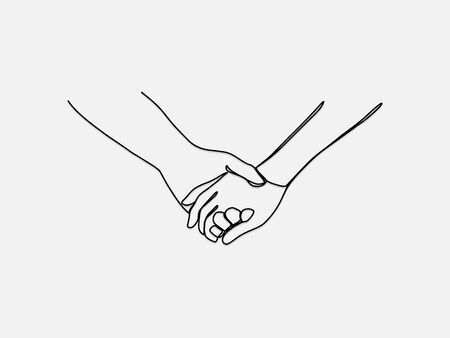 Hand holding continuous line vector drawing.