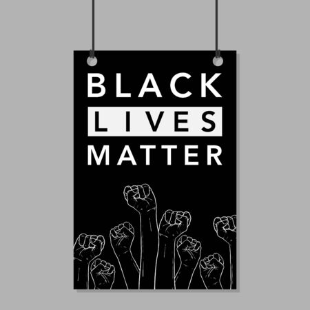 Black lives matters. Social poster, banner. Stop racism police violence. I can't breathe. Flat vector illustration. banner, design concept, sign, with black and white text on a flat black background.