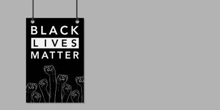 Black lives matters. Social poster, banner. Stop racism police violence. I can't breathe. Flat vector illustration. banner, design concept, sign, with black and white text on a flat black background. Standard-Bild - 150197736