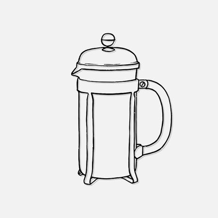 Coffee french press hand drawn vector illustration isolated on white background Çizim