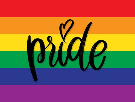Hand draw LGBT pride Hand written lettering isolated. Vector template for poster, social network, banner, cards. word PRIDE for poster. LGBTQ love symbol background. Concept design.
