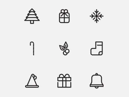Christmas Icons set with White Background. Linear, outlined, simple, Web symbols for web sites and mobile app. Trendy design. Ilustração