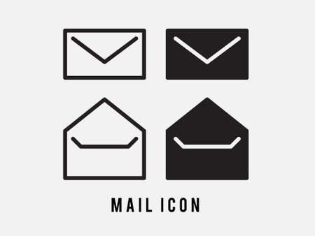 Black line Envelope icon isolated on white background. Email message letter symbol. Set icons in color square buttons. Vector Illustration