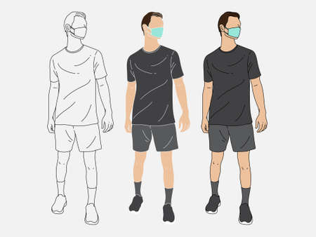 Men standing wearing sportswear. Wear a mask. New normal. Human character on white background. Hand drawn style vector design illustrations.