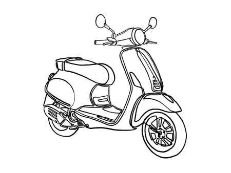 Scooter for travel. Motobike. continuous line vector drawing. Isolated on a white background.