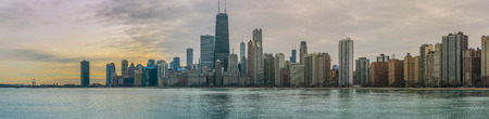 Chicago Skyline Sunset and Lake Michigan Panorama