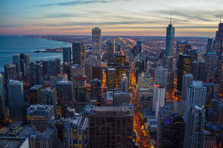 hancock: Chicago skyline Sunset Aerial View Stock Photo