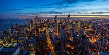Chicago skyline Sunset Aerial View Stock Photo