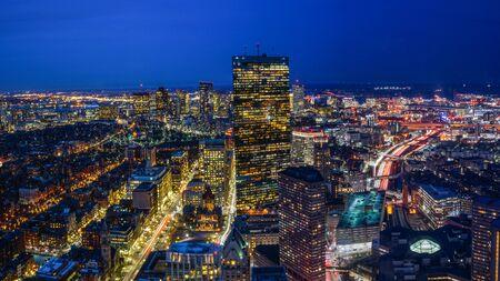 Boston Skyline at Night Aerial View