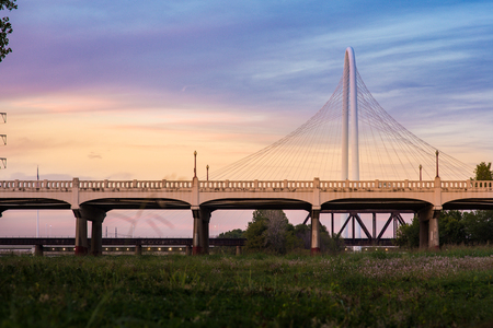 Magaret Hunt Hill Bridge with Sunset from Dallas, Texas.