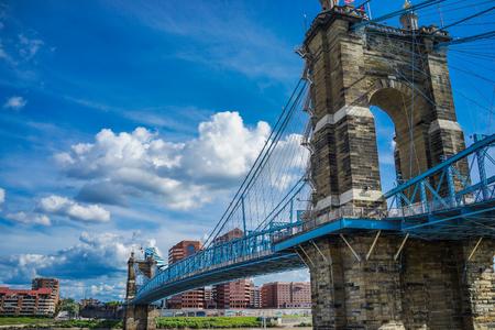 シンシナティ、オハイオ州でジョン ・ ローブリング吊橋。