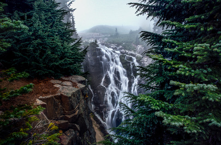This is the picture of Myrtle Falls Creeks at Mount Rainier National Park when its foggy.