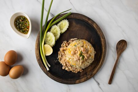 This is the picture of Crab Fried Rice with Egg and Fish Sauce Stock Photo