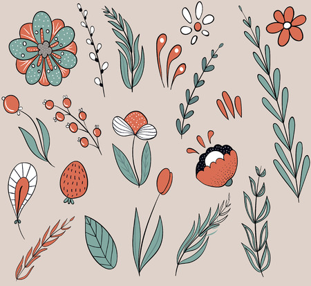 Representatives of the flora. A lot of green plants, branches, flowers. Chamomile, poppies, red flowers, white flowers. Elements for decoration. Illustration