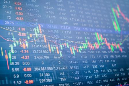 Stock market chart, Stock market data on LED display concept Archivio Fotografico