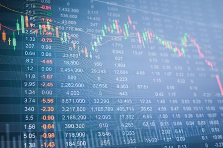 Stock market chart, Stock market data on LED display concept Stockfoto