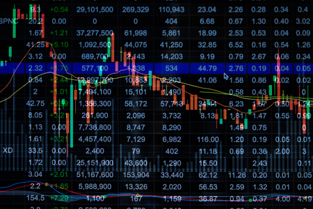 nasdaq: Stock market chart, Stock market data on LED display concept Stock Photo