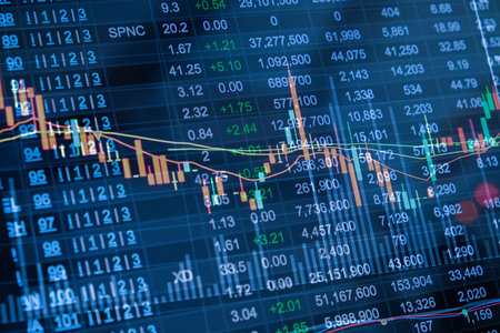 led display: Stock market chart, Stock market data on LED display concept Stock Photo
