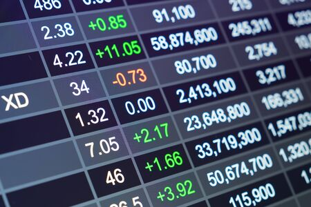 stock ticker board: Stock market chart, Stock market data on LED display concept Stock Photo