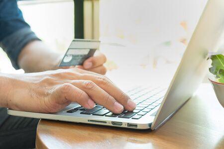 cvv: Online payment,Mans hands holding smart phone for online shopping