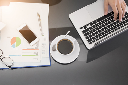 black leather texture: Top view of business work desk with copyspace Stock Photo
