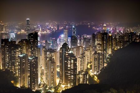 Hong Kong skyline, View from Victoria Peak. Stock Photo