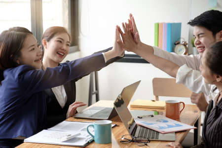 Successful entrepreneurs, Business colleagues celebrating successful at office