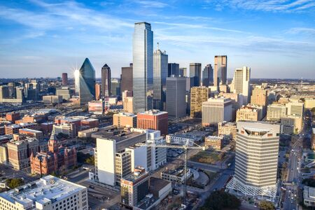 Aerial View of Downtown Dallas on a Summer Day - Dallas, Texas, USA Stock Photo