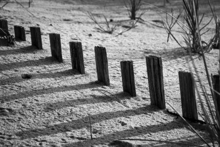 Buried sand fence casting shadows