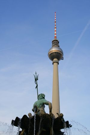 neptun: Tv tower and Neptun Fountain in Alexanderplatz in Berlin