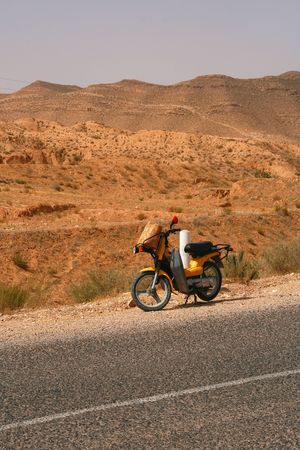 Road in Matmata - Berber village in Tunisia photo