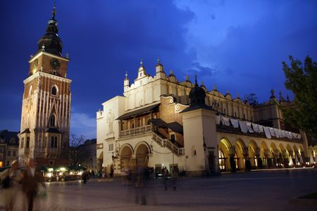 Renaissance Sukiennice (Cloth Hall) and Town Hall Tower in Cracow, Poland photo