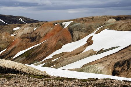 Multicolored rhyolite mountains in Landmannalaugar region near the Hekla volcano in southwest Iceland photo