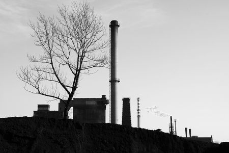 coking: Coking plant in Silesia - industrial district of Poland. Image in black and white