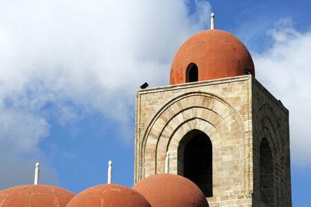 hermits: Top of San Giovani degli Eremiti (St. John of the Hermits) church in Palermo, Sicily Stock Photo