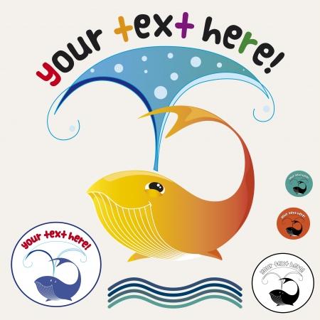 funny whale sea life sun  Vector