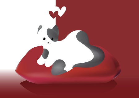 cat s: valentine s day cat in love red hearts  Illustration