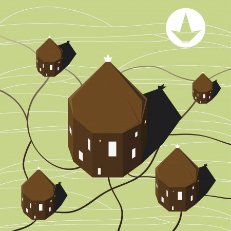 houses buildings green fields crown  Vector
